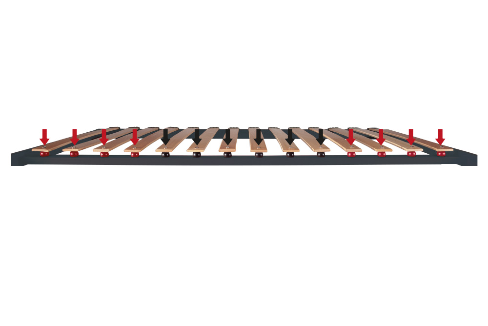 Система ERGOTEC (запатентовано Lordflex's), 3-х дифференцированных зон жесткости со сферическими амортизаторами из каучука (центральная ось, вид в разрезе).