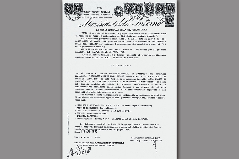 Certifi cazione Ministeriale Classe 1 IM